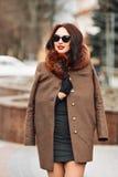 Belle fille fascinante sexy de brune dans une robe et un manteau de fourrure verts élégants avec une fourrure pelucheuse, des gan Photo libre de droits