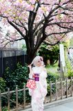 Belle fille japonaise utilisant le kimono coloré photos stock