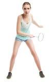 Belle fille jouant avec la raquette de badminton Images libres de droits