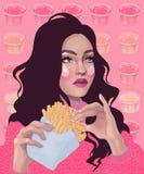 belle fille mangeant des pommes frites Images libres de droits
