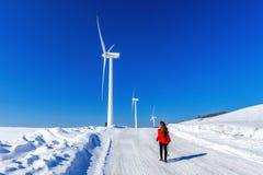 Belle fille marchant dans le paysage d'hiver du ciel et de la route d'hiver avec la neige images stock