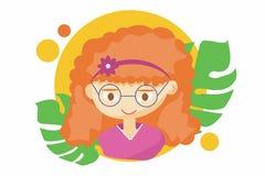 Belle fille mignonne d'été - illustration de beau visage heureux roux de fille, caractéristiques positives de visage, cligner  illustration libre de droits