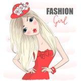 Belle fille mignonne tirée par la main de mode de bande dessinée dans la robe rouge illustration libre de droits