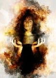 Belle fille mystérieuse dans l'espace cosmique Couleur de sépia photo stock