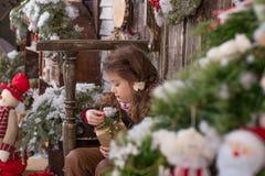 Belle fille posant dans des décorations de Noël Photo stock