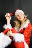 Belle fille rectifiée comme Santa Image libre de droits