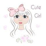 Belle fille romantique, fille mignonne, graphiques de T-shirt Image stock