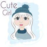 Belle fille romantique, fille mignonne, graphiques de T-shirt, fille de princesse d'illustration Dirigez la belle fille à la mode Photos libres de droits
