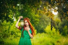Belle fille rouge de cheveux avec les yeux vert-foncé Images stock
