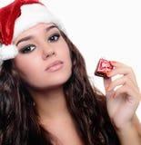Belle fille sexy de Noël Photographie stock libre de droits