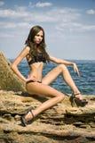 Belle fille sur la plage Photographie stock
