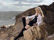 Belle fille sur la plage #6 Image libre de droits