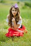 Belle fille sur le gisement de céréale au printemps image stock