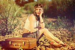Belle fille sur une route Photo libre de droits