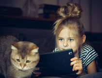 Belle fille tenant une Tablette et des regards au chat image stock