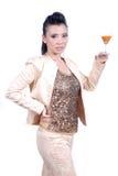Belle fin asiatique de fille de portrait vers le haut de boisson de femme photo libre de droits