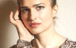 Belle fin de visage de femme de portrait  photographie stock