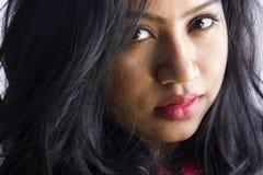 Belle fin femelle indienne de modèle de visage image libre de droits