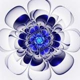 Belle fleur bleue sur le fond blanc Le GR généré par ordinateur Photo libre de droits