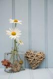Belle fleur dans le vase avec de coeur toujours le concept d'amour de la vie Photos stock