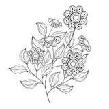 Belle fleur monochrome de découpe de vecteur Photographie stock