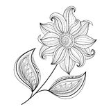Belle fleur monochrome de découpe de vecteur Image libre de droits