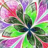 Belle fleur multicolore de fractale dans le styl de fenêtre en verre teinté Photo stock