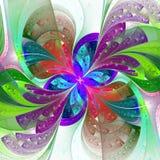 Belle fleur multicolore de fractale sur le fond blanc illustration libre de droits
