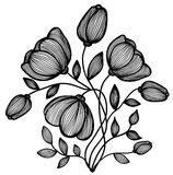 Belle fleur noire et blanche abstraite des lignes. Choisissez d'isolement sur le blanc Image libre de droits