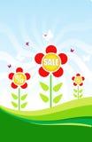 Belle fleur rouge. Fond pour une carte de vente Image libre de droits