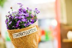 Belle fleur violette ou pourpre de Gypsophila en papier brun de grille Photos stock