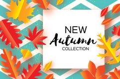 Belle foglie del taglio della carta di autunno dell'oro Ciao autunno Modello dell'aletta di filatoio di settembre Blocco per graf Fotografia Stock