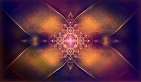 Belle fractale ornementale de fleur avec l'ornement de croix de shinig illustration stock