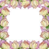Belle frontière de ressort faite de fleurs et feuilles roses avec des veines Cadre carré avec le fond blanc pour un texte Photographie stock