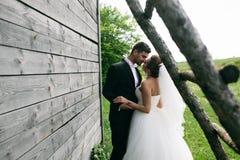 Belle giovani coppie di nozze all'aperto Fotografia Stock Libera da Diritti
