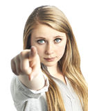 Belle giovani donne che indicano alla macchina fotografica Immagine Stock Libera da Diritti