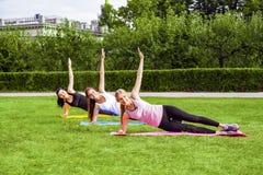 Belle giovani donne viscose in buona salute che fanno i exersices sull'erba verde nel parco, plancia laterale della cinghia con l fotografia stock
