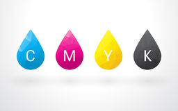 Belle gocce di colore CMYK Immagini Stock