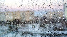 Belle gocce di pioggia sul vetro Fotografia Stock