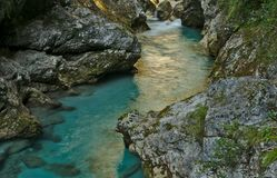 Belle gorge de Tolmin dans la partie slovène de Julian Alps photo stock
