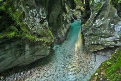 Belle gorge de Tolmin dans la partie slovène de Julian Alps photo libre de droits