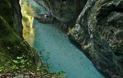Belle gorge de Tolmin dans la partie slovène de Julian Alps photographie stock