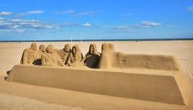 Belle grande sculpture en sable sur la plage de Malvarrosa Images libres de droits