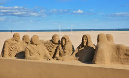 Belle grande sculpture en sable sur la plage de Malvarrosa Photographie stock libre de droits