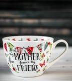 Belle grande tasse pour le jour et le 8 mars de mère Image stock