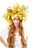 Belle grida della ragazza di autunno Immagini Stock