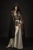 Belle guerrière de fille dans des vêtements médiévaux Photo stock