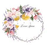 Belle guirlande d'aquarelle avec les fleurs de lavande, l'anémone, la magnolia et les fruits oranges Images stock