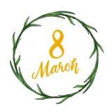 Belle guirlande de vacances du 8 mars avec le texte jaune illustration libre de droits