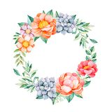 Belle guirlande en pastel florale avec la pivoine, fleurs, feuilles, branches, succulents illustration de vecteur